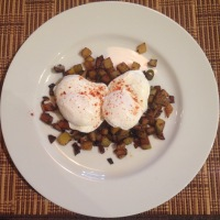 Harissa Hash with Poached Eggs