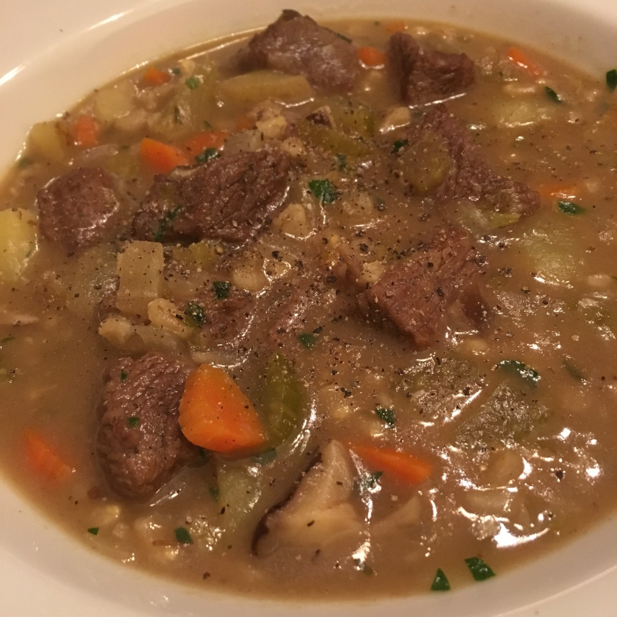 Shiitake Beef and Barley Stew