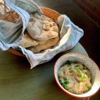 Confit of Baba Ganoush with Sourdough Flatbread